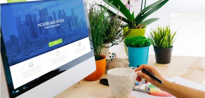 website-design-monitor-plants-desk-girl-holding-cup